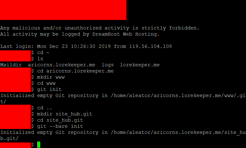 Creating and initialising the directories on the server.