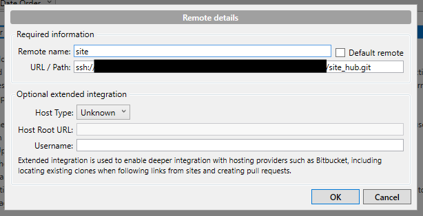 Adding the remote in Sourcetree.